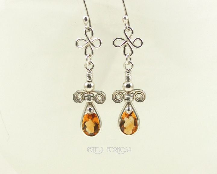 Wire Wrapped Golden Yellow Citrine Earrings Bright Gemstones Dangly Handmade Sterling Silver - product images  of