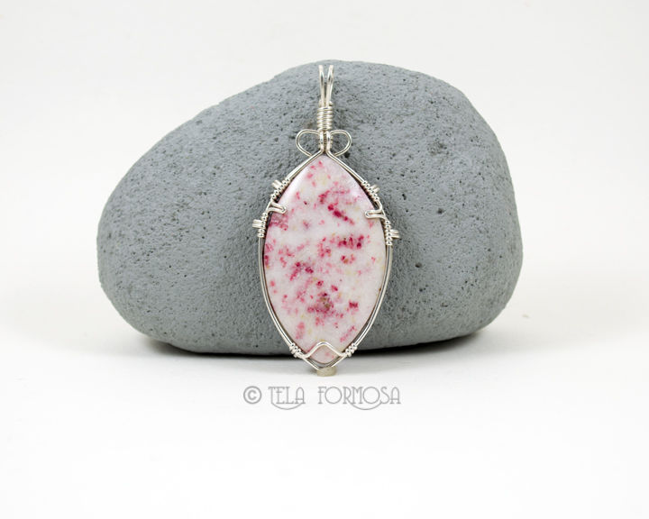 RESERVED Rosalina Pendant White and Pink Stone Pendant Wire Wrapped Sterling Silver - product images  of