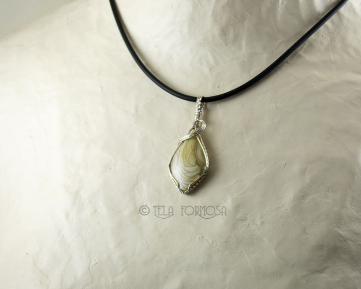 RESERVED Small Willow Creek Jasper Pendant Yellow / Green Stone Wire Wrapped Sterling Silver - product images  of