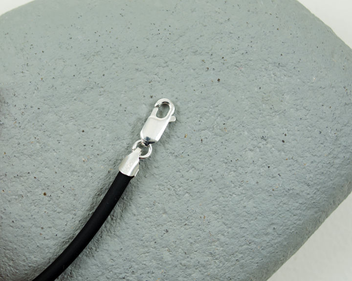"High Quality Heavier 3mm Black Rubber Cord Necklace 16"", 18"", 20"", 24"" Sterling Silver  - product images  of"