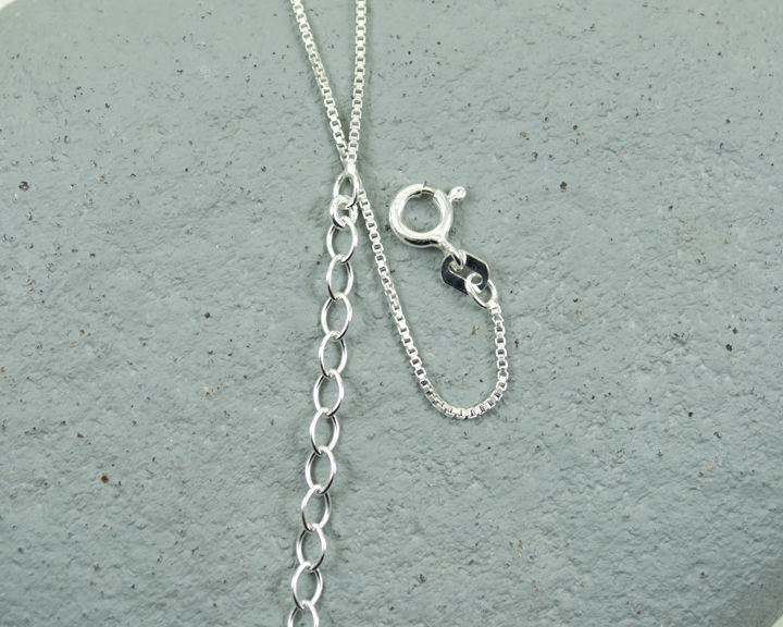 "Lighter 1mm Sterling Silver Box Chain Italian Adjustable 16 to 18"" / 41 to 46cm - product images  of"