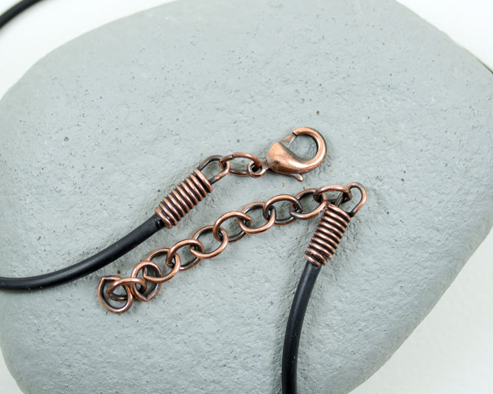 "2.5mm 18-20"" Adjustable Black Cord Necklace Antique Patina Copper Lobster Claw Clasp  - product images  of"