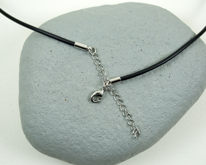 "Heavier 3mm Black Rubber Cord Necklace 18"" to 20"" Adjustable Stainless Steel - product images  of"