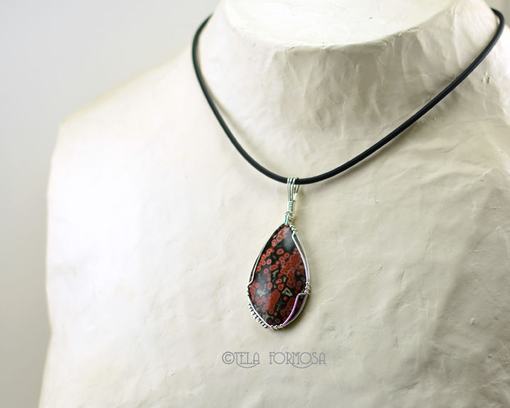 Wire Wrapped Ocean Jasper Pendant Rare Red Green Natural Stone Cabochon Sterling Silver - product images  of