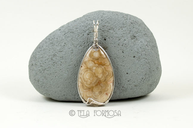 Rare Kokoweef Cave Onyx Pendant Sterling Silver Wire Wrapped Handmade  - product images  of