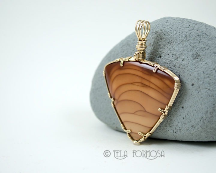 Rare Bruneau Jasper Pendant Wire Wrapped in 14k GF Handmade  - product images  of