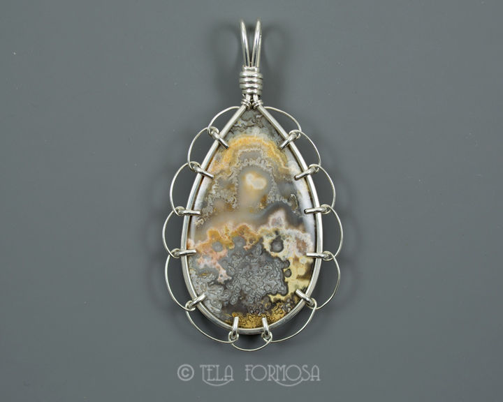 Lacy Crazy Agate Cabochon Pendant Lacy Statement Wire Wrapped Sterling Silver Cabochon - product images  of
