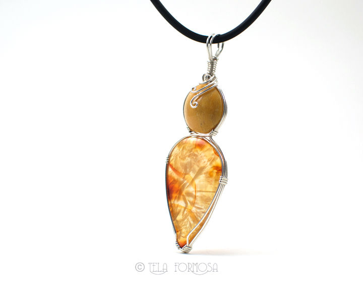 Wire Wrapped Two Stone Pendant Carnelian Quartz Yellow Orange Natural Stone Sterling Silver - product images  of
