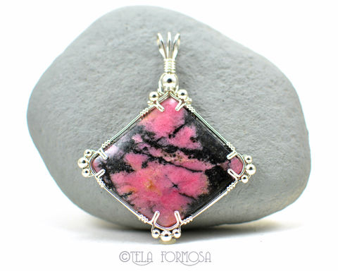 Statement,Piece,Rhodonite,Pendant,Black,and,Pink,Natural,Stone,Handmade,Wire,Wrapped,Jewelry,Large,Statement_Piece,large_statement,statement,Rhodonite_Pendant,Black_and_Pink,Stone_Pendant,Natural_Stone,stone_Cabochon,cabochon_Pendant,Wire_Wrapped_Pendant,Wire_Work