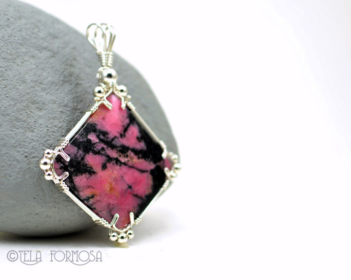 Statement Piece Rhodonite Pendant Black and Pink Natural Stone Handmade Wire Wrapped - product images  of