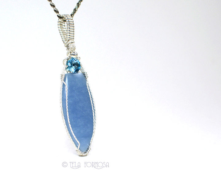 Baby Blue Angelite and Topaz Pendant Gemstone Sterling Silver Handmade Wire Wrapped - product images  of