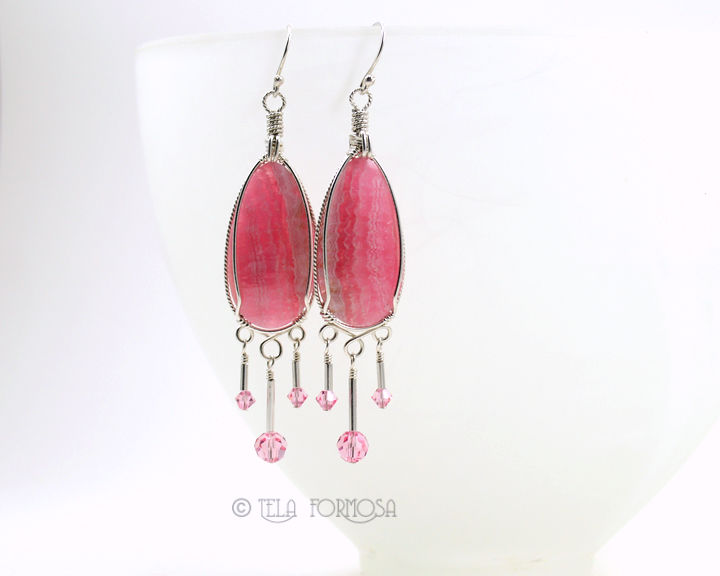 Rare Rhodochrosite Earrings Pink Dangly Long Stone Wire Wrapped Earrings Handmade - product images  of