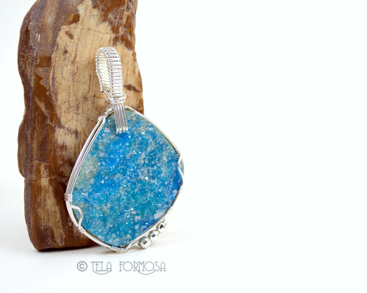 Very Rare Kinoite with Apophyillite Druzy Pendant Sky Blue Stone Wire Wrapped Sterling Silver - product images  of