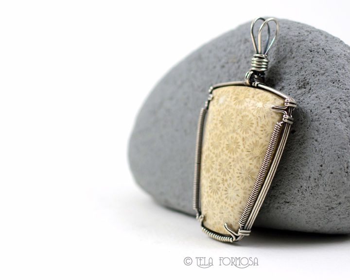 White Petrified Coral Pendant Natural Fossil Stone Cabochon Sterling Silver Wire Wrapped - product images  of