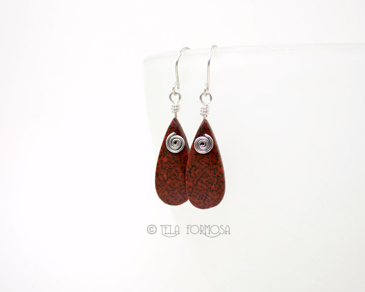 Red Dinosaur Bone Earrings Pendant Set Gem Bone Fossil Stone Sterling Silver Handmade Wire Wrapped - product images  of