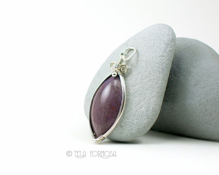 Rare Turkish Purple Jade Pendant Natural Stone Cabochon Handmade Wire Wrapped Jadeite - product images  of
