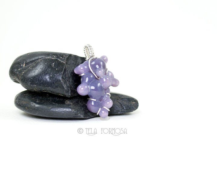 Unique Grape Agate Pendant Chalcedony Purple Natural Stone Cabochon Wire Wrapped Handmade - product images  of