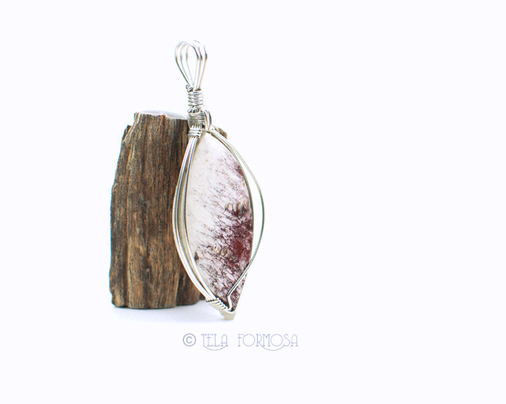 Rare Alunite Pendant Red and White Natural Stone Cabochon Sterling Silver Wire Wrapped - product images  of