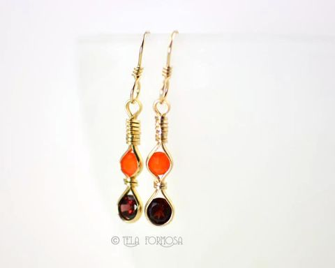 Long,Fanta,Orange,Fire,Opal,Red,Garnet,Gemstone,Earrings,Wire,Wrapped,14k,Gold,Filled,Jewelry,orange,Fire_Opal,fire_opal_Earrings,earrings,Garnet_Earrings,Gemstone_Earrings,Wire_Wrapped_Jewelry,Handmade,14k_Gold_Filled,Wire_Wrapped,wrapped_earrings,Fanta_Orange,genuine garnet,hand forged 14k gold filled earwires,14k gold fill