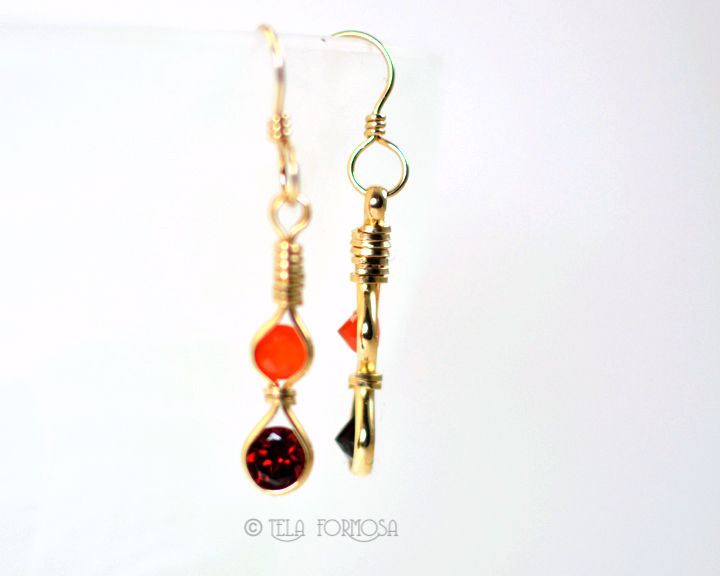Long Fanta Orange Fire Opal Red Garnet Gemstone Earrings Wire Wrapped 14k Gold Filled - product images  of