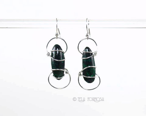 Long,Chatoyant,Green,Malachite,Earrings,Dangly,Sterling,Silver,Handmade,Wire,Wrapped,Jewelry,malachite_Earrings,Green_Stone,stone_Earrings,dangly_Earrings,Sterling_Silver,Cabochon_Earrings,wrapped_earrings,earrings,wire_wrapped,dangly,sterling silver wire,hand forged sterling silver fishhook earwires