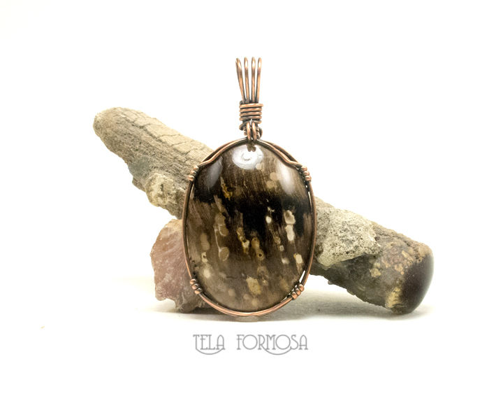 Wire Wrapped Petrified Wood Pendant Fossil Handmade Copper Stone Pendant Mens Unisex - product images  of