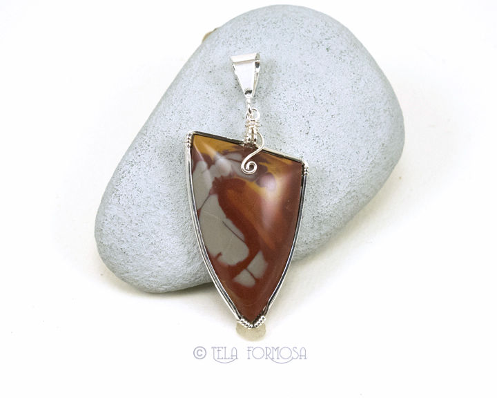 Noreena Jasper Pendant Sterling Silver Handmade Wire Wrapped Natural Stone - product images  of