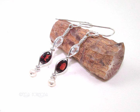 Wire,Wrapped,Natural,Gemstone,Garnet,Earrings,Zircon,Pearl,Handmade,Silver,Long,Red,Jewelry,garnet_Earrings,earrings,Gemstone_Earrings,Wire_Wrapped_Jewelry,Silver_Wire,Wrapped_Earrings,Red_Earrings