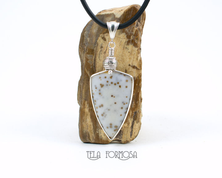 Wire Wrapped Polka Dot Agate Pendant Yellow Polka Dot White Stone Cabochon Handmade Sterling Silver - product images  of
