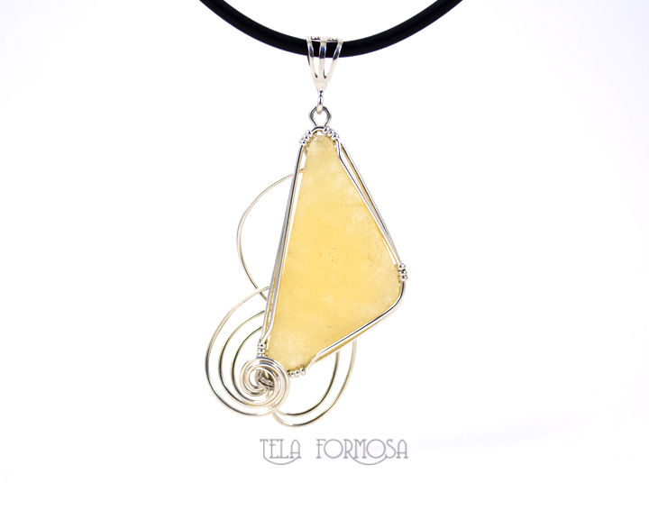 Cheery Yellow Calcite Pendant Sterling Silver Wire Wrapped Natural Cabochon Handmade Wire Wrap - product images  of