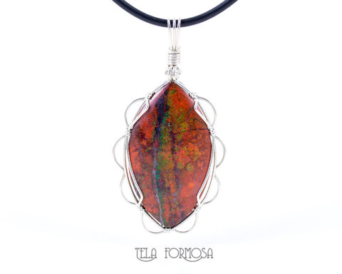 Sonora,Sunrise,Pendant,Crimson,Cuprite,Sterling,Silver,Wire,Wrapped,Natural,Stone,Cabochon,Sonora Sunrise Pendant, Crimson Cuprite pendant, Sterling Silver, Wire Wrapped, Natural Stone, sonora sunrise, wire wrap