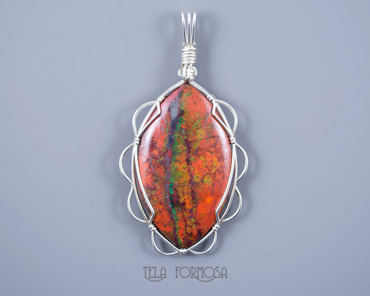 Sonora Sunrise Pendant Crimson Cuprite Sterling Silver Wire Wrapped Natural Stone Cabochon - product images  of
