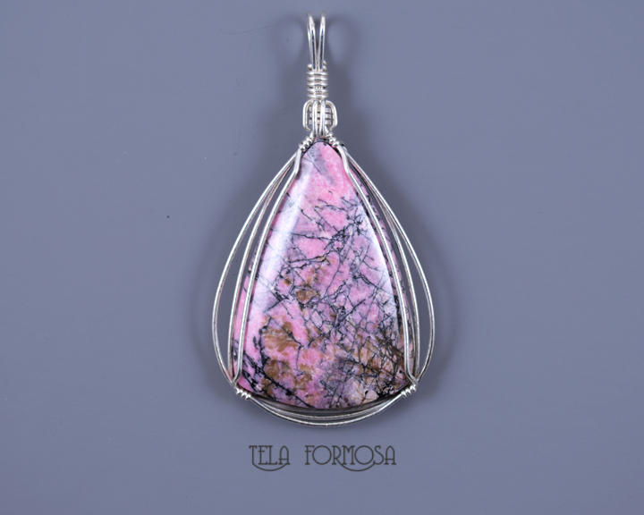 spiderweb rhodonite pendant