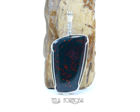 Bloodstone,Sterling,Silver,Wire,Wrapped,Pendant,Natural,Stone,Heliotrope, Sterling Silver, Wire Wrapped, Pendant, Natural Stone, Heliotrope, stone, cabochon, jewelry, chalcedony, wire wrap