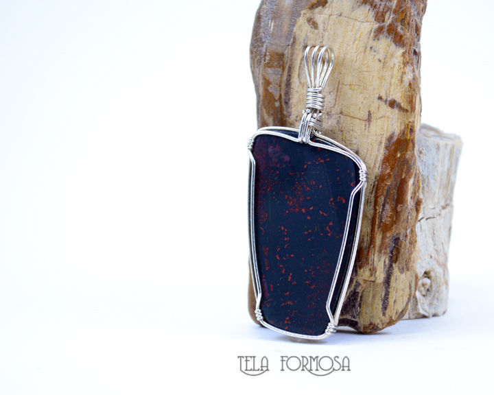 Bloodstone Sterling Silver Wire Wrapped Pendant Natural Stone Heliotrope - product images  of