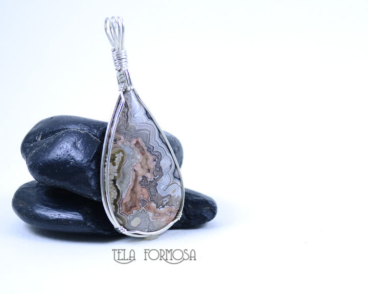 Crazy Lace Agate Pendant Gray and Pink Handmade Wire Wrapped Natural Stone Cabochon Jewelry  - product images  of