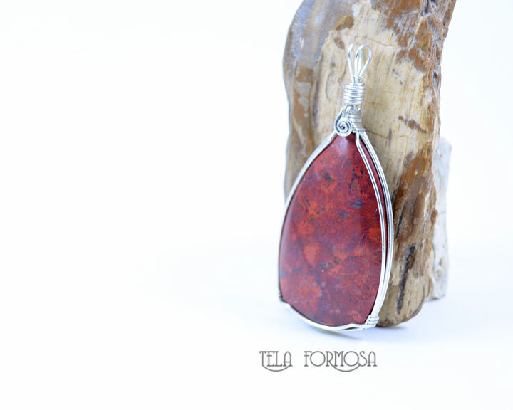 Rare Sonoran Crimson Cuprite Pendant Handmade Wire Wrapped Natural Stone Caboch Jewelry - product images  of