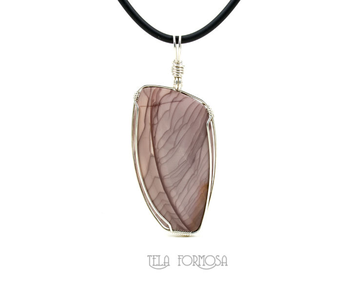 Large Willow Creek Jasper Pendant Mauve Plum Purple Handmade Sterling Silver Wire Wrapped - product images  of