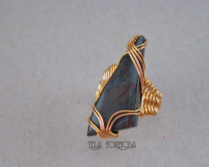 spectrolite 14k gold filled ring hancrafted wire wrapped tela formosa