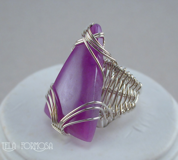 sugilite ring handcrafted sterling silver wire wrapped tela formosa