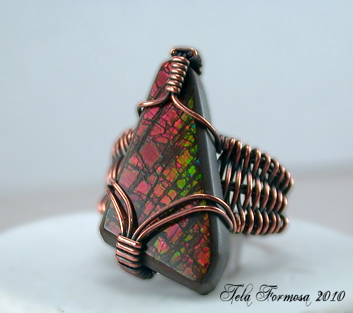 ammolite ring handcrafted copper wire wrapped tela formosa