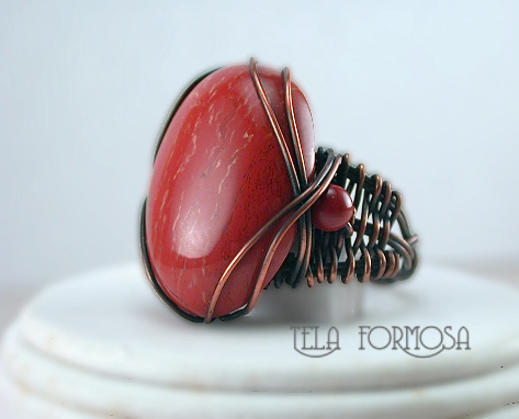 red jasper ring handcrafted copper wire wrapped tela formosa