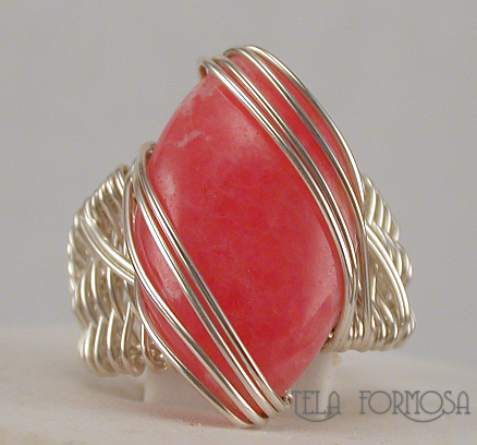 rhodochrosite ring handcrafted sterling silver wire wrapped tela formosa