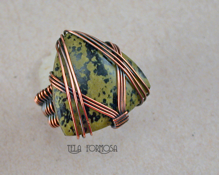 mens wire wrapped ring copper handmade tela formosa
