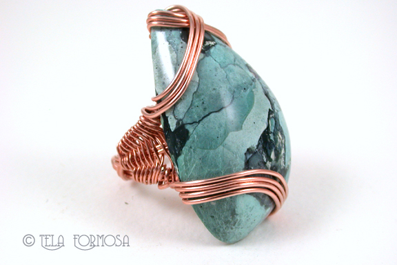 turquoise mens wire wrapped ring copper handmade tela formosa
