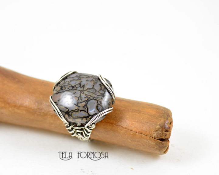 dinosaur bone ring sterling silver handcrafted wire wrapped tela formosa