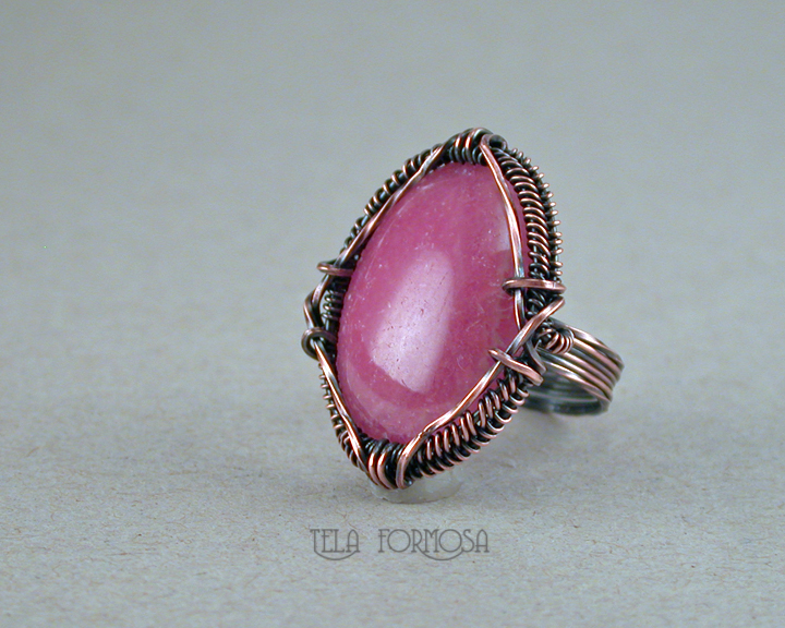 rhodochrosite ring handcrafted copper wire wrapped tela formosa