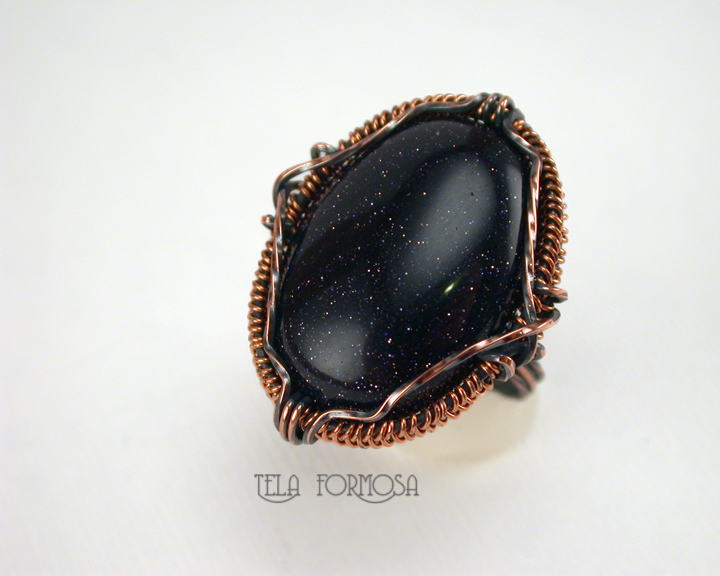 blue goldstone ring handcrafted copper wire wrapped tela formosa
