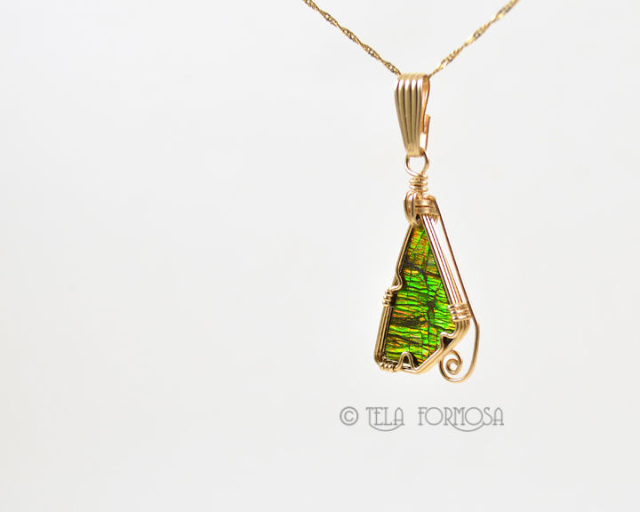 RESERVED Rare Ammolite Pendant 14k GF Handmade Wire Wrapped Gemstone - product images  of