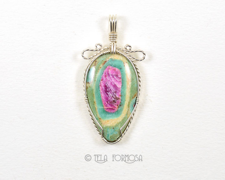 Ruby in Fuchsite Pendant Handmade Wire Wrapped Cabochon Jewelry Sterling Silver - product images  of